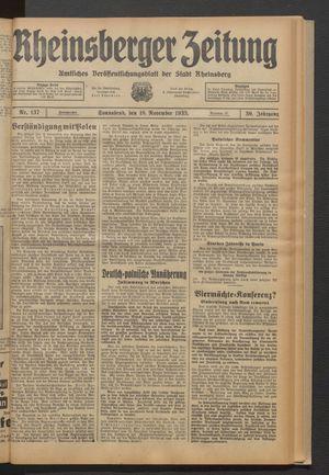 Rheinsberger Zeitung vom 18.11.1933