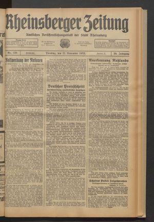 Rheinsberger Zeitung vom 21.11.1933