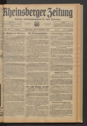 Rheinsberger Zeitung vom 23.11.1933