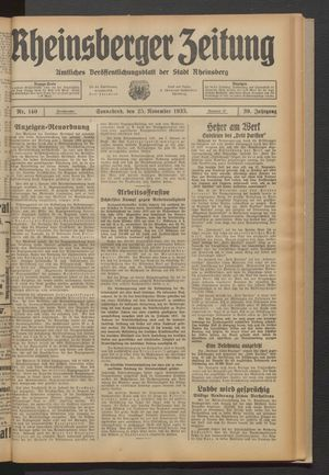 Rheinsberger Zeitung vom 25.11.1933