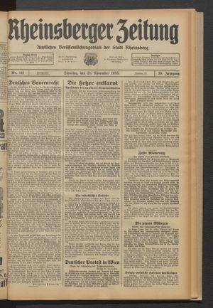 Rheinsberger Zeitung vom 28.11.1933