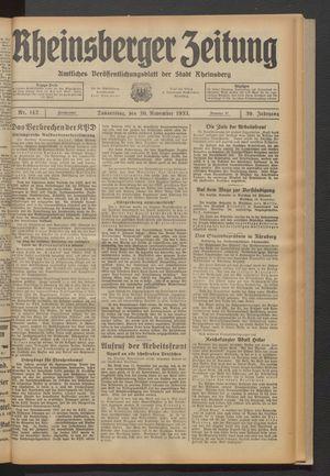 Rheinsberger Zeitung vom 30.11.1933