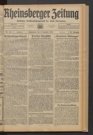 Rheinsberger Zeitung vom 02.12.1933