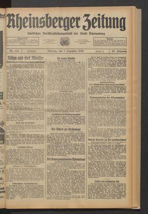Rheinsberger Zeitung vom 05.12.1933