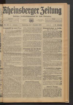 Rheinsberger Zeitung vom 07.12.1933