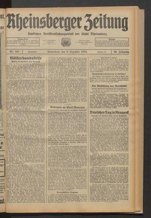 Rheinsberger Zeitung vom 09.12.1933