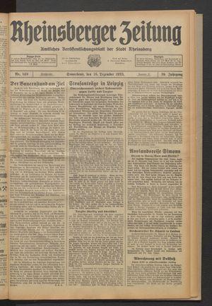 Rheinsberger Zeitung vom 16.12.1933
