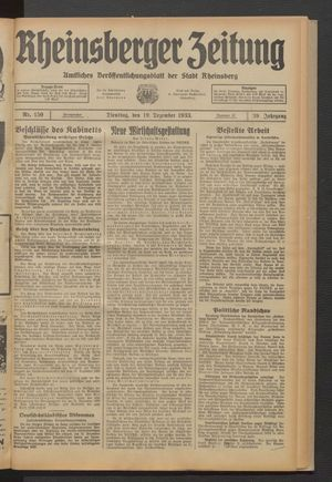 Rheinsberger Zeitung vom 19.12.1933