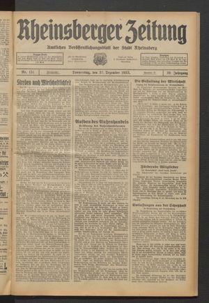 Rheinsberger Zeitung vom 21.12.1933