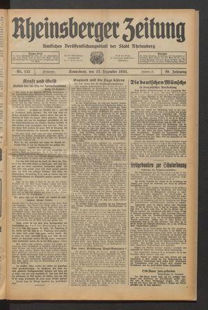 Rheinsberger Zeitung vom 23.12.1933