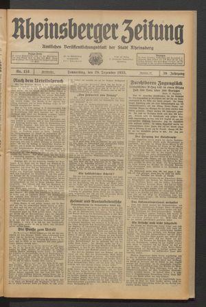 Rheinsberger Zeitung vom 28.12.1933