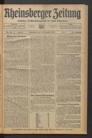 Rheinsberger Zeitung vom 30.12.1933
