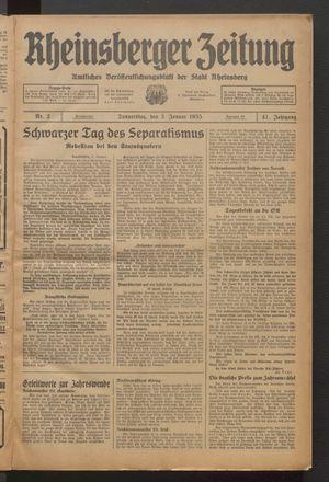 Rheinsberger Zeitung vom 03.01.1935