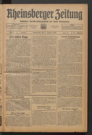 Rheinsberger Zeitung vom 05.01.1935