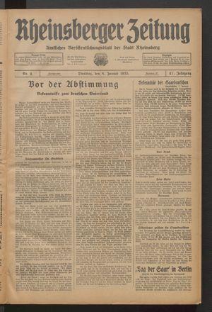 Rheinsberger Zeitung vom 08.01.1935