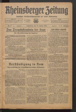 Rheinsberger Zeitung vom 10.01.1935