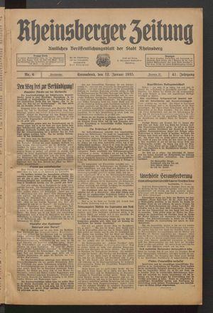 Rheinsberger Zeitung on Jan 12, 1935