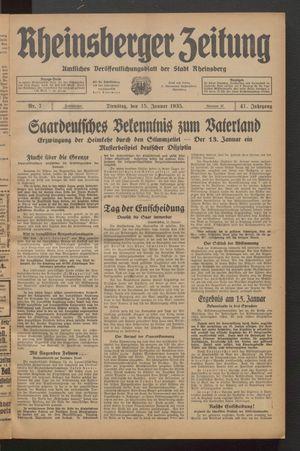 Rheinsberger Zeitung vom 15.01.1935