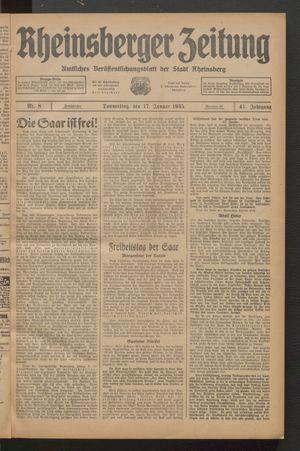 Rheinsberger Zeitung vom 17.01.1935