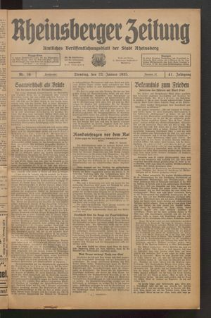 Rheinsberger Zeitung on Jan 22, 1935