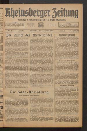 Rheinsberger Zeitung vom 24.01.1935