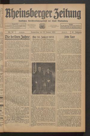 Rheinsberger Zeitung vom 31.01.1935