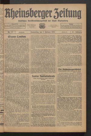 Rheinsberger Zeitung vom 07.02.1935