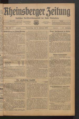 Rheinsberger Zeitung vom 14.02.1935
