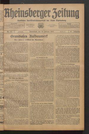 Rheinsberger Zeitung vom 16.02.1935