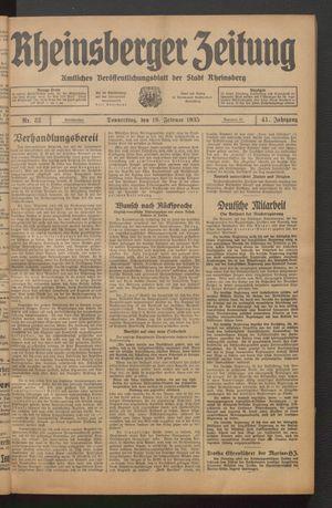 Rheinsberger Zeitung on Feb 19, 1935