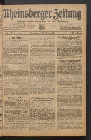 Rheinsberger Zeitung vom 21.02.1935