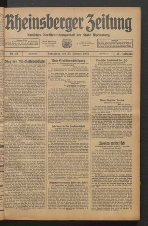 Rheinsberger Zeitung vom 23.02.1935