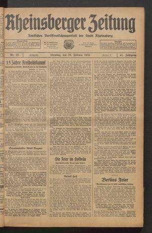 Rheinsberger Zeitung vom 26.02.1935