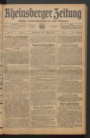 Rheinsberger Zeitung vom 07.03.1935
