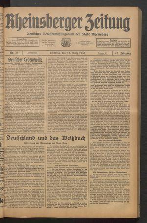 Rheinsberger Zeitung vom 12.03.1935