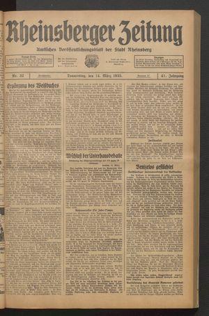 Rheinsberger Zeitung vom 14.03.1935