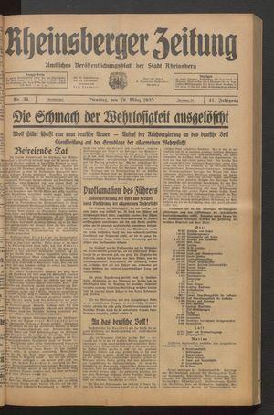 Rheinsberger Zeitung vom 19.03.1935