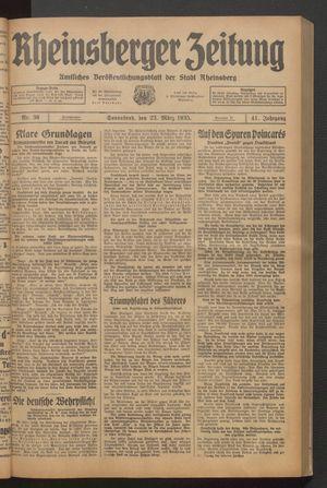 Rheinsberger Zeitung vom 23.03.1935