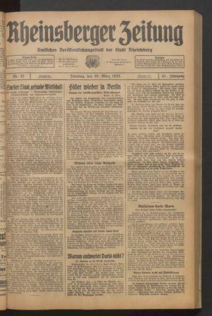 Rheinsberger Zeitung vom 26.03.1935