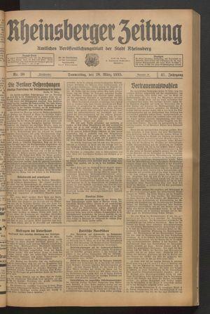Rheinsberger Zeitung vom 28.03.1935