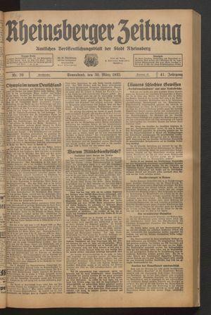 Rheinsberger Zeitung vom 30.03.1935