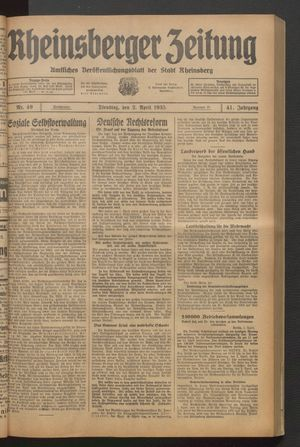 Rheinsberger Zeitung vom 02.04.1935