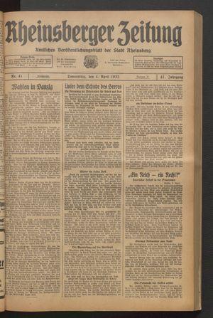 Rheinsberger Zeitung vom 04.04.1935