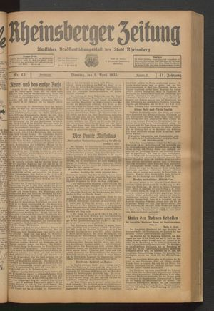 Rheinsberger Zeitung vom 09.04.1935