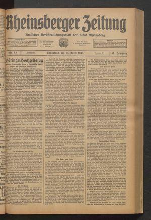 Rheinsberger Zeitung vom 13.04.1935