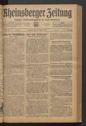 Rheinsberger Zeitung vom 16.04.1935