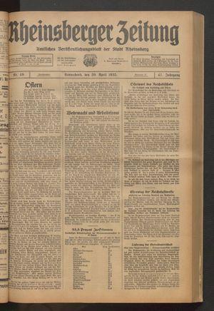 Rheinsberger Zeitung vom 20.04.1935