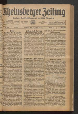 Rheinsberger Zeitung vom 23.04.1935