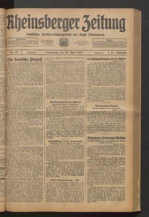 Rheinsberger Zeitung vom 25.04.1935