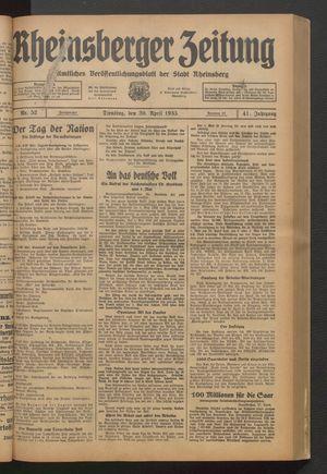 Rheinsberger Zeitung vom 30.04.1935